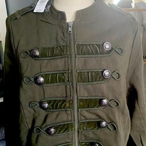 Women's military style olive green jersey jacket.